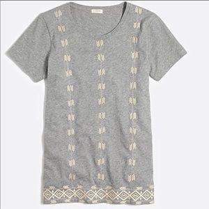 J.Crew Geometric Gray Embroidered TShirt Small